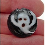 Ghost Lampworked Glass Bead, Halloween Focal Coin Bead