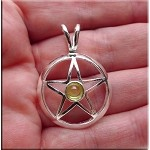 Silver Pentacle Pendant with Peridot