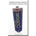Chakra Pendant Sodalite Point Pendant with 7 Gemstones Pendant