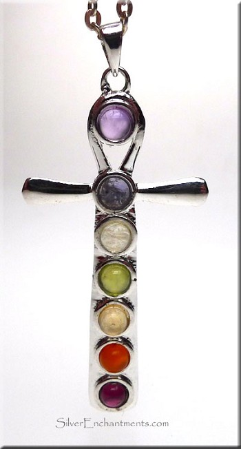Large Ankh Pendant with Chakra Gemstones