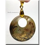 Golden Mermaid on Mother of Pearl Pendant