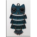 Owl Pendant with Crystal Eyes, Bronze-Metallic Teal Blue Patina, 2-inch Moveable Pendant