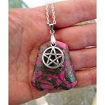 Pentacle Necklace - Tibetan Silver Pentacle on Pink Agate and Pyrite Gemstone