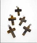 Tiger's Eye Cross Pendant, Tiger Eye Bailed Stone Cross Pendants (1)