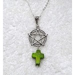 Pentacle with Green Jasper Cross Pendant, ChristoPagan Necklace - Everyday Spiritual Jewelry