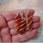 Carnelian Necklace, Spiral-Wrapped Carnelian Point Necklace Pendant - Stone of Courage and Confidence, Cornelian Gemstone