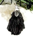 WITCH'S BROOM - Black Kyanite Pendant with Quartz Crystal Necklace 60x38mm