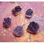 Amethyst Druzy Necklace with Chain - Raw Amethyst Gemstone Necklace, Silver Edge - Amethyst Cluster Necklace