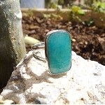Sterling Silver Amazonite Ring Size 6, Courage Stone Ring, Genuine 925 Silver and Shimmering Amazonite Gemstone Ring