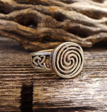 SOLD - Sterling Silver Celtic Spiral Ring with Triquetra Sides - Size 7.5