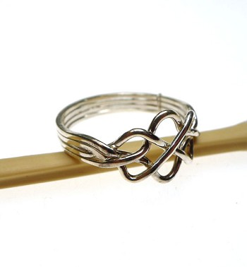sterling silver celtic puzzle ring 4 band gimmal celtic knot wedding ring size 12 - Celtic Knot Wedding Rings