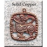 Solid Copper Celtic Cat Pendant