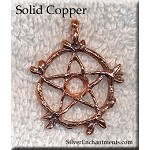 Copper Bailed Vine Pentacle Pendant with Cab Inset Area, Raw Copper Casting