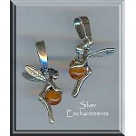 Sterling Silver Bailed Tinkerbell Fairy Pendant with Baltic Amber