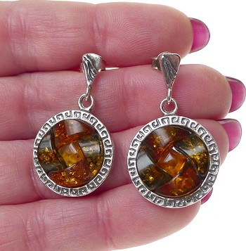 Genuine Amber Earrings, Sterling Silver and Baltic Amber Celtic Earrings with Greek Key Design