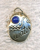 Sterling Silver Water Element Charm with Lapis Lazuli