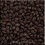 Super Duo Beads, CHOCOLATE Brown COPPER PICASSO, Czech SuperDuos Beads 10 grams