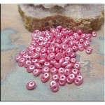 Super Duo Beads, FLAMINGO Pearl Coat Czech Glass SuperDuo Beads