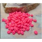 Super Duo Beads, PINK NEON, 10 grams Czech Glass SuperDuo Beads