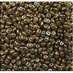 SuperDuo Seed Beads, OLIVE BRONZE VEGA, 10 grams Czech Glass Two Hole Beads