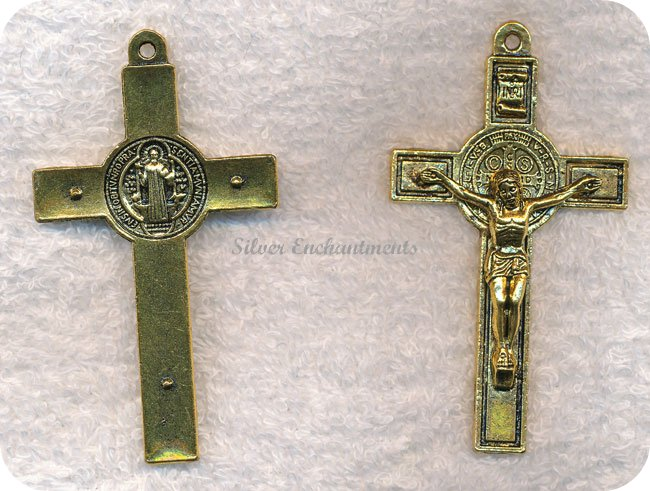 Large Double-Sided 3D Crucifix Pendant, Antique Gold Finish, 76x42mm