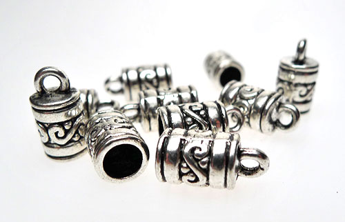 Silver Scroll-Patterned Jewelry End Caps with 4.5mm Opening (10)