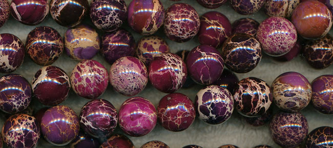 Sea Sediment Jasper Beads, Purple Round 10mm