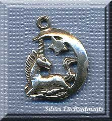 Sterling Silver Moon Unicorn Charm-Pendant