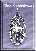 ZDISCONTINUED - Sterling Silver Unicorn Pendant, 26x14mm Bailed Unicorn Jewelry