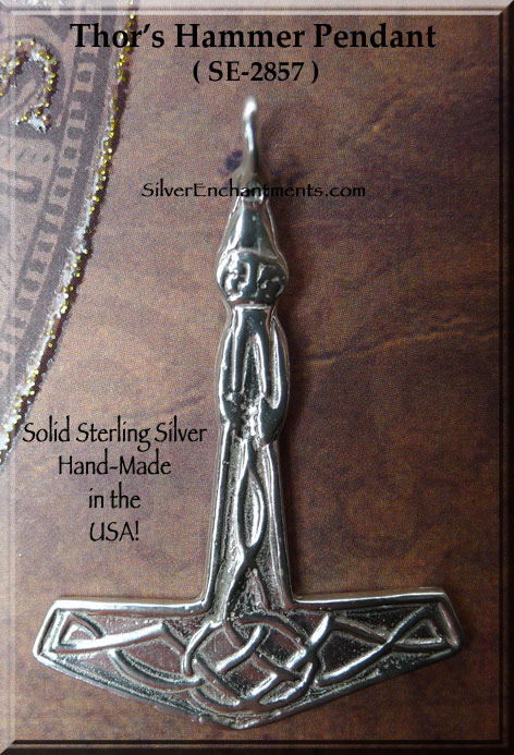 Sterling Silver Thor S Hammer Necklace 42x30mm Norse