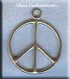 Sterling Silver Peace Pendant, Peace Sign Jewelry