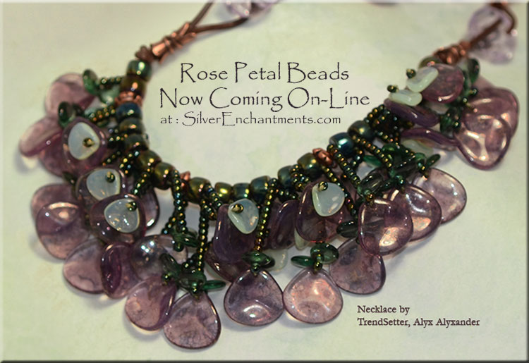 Czech Rose Petal Beads Silver Enchantments