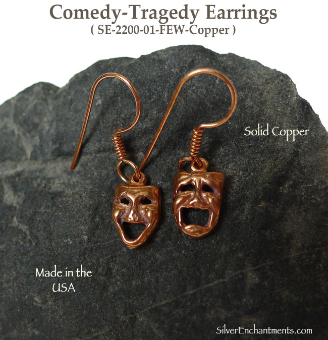 Copper Comedy Tragedy Earrings Drama Mask Theater Jewelry Theatre Actor Charm