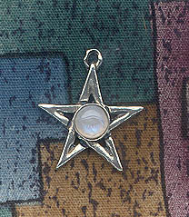 Sterling Silver Pentagram Charm with Gemstone - CUSTOM MADE