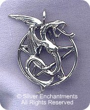 Sterling Silver Bailed Dragon Pentacle Pendant