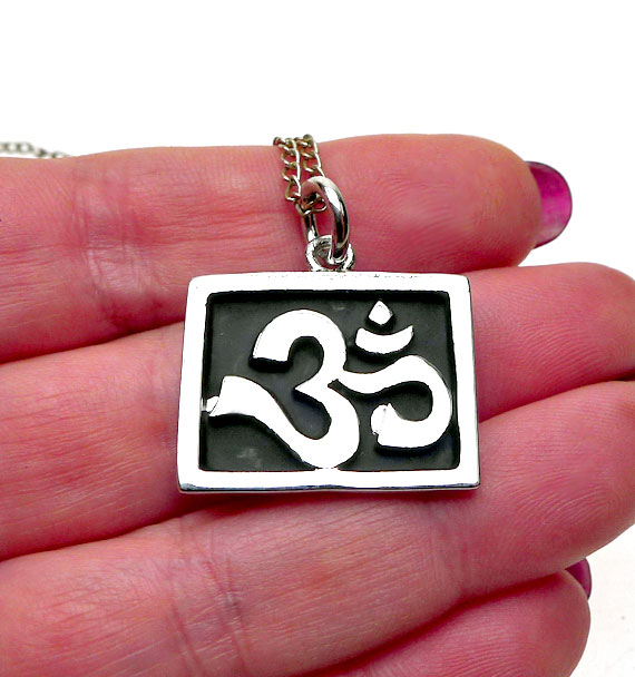 Om Pendant Meditation Jewelry Ohm Symbol Spiritual Silver Plated Necklace