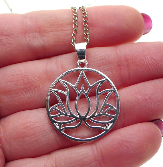 Silver Lotus Pendant Necklace Lotus Flower Necklace Egyptian Jewelry
