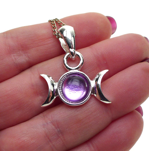 Purple triple moon pendant necklace crescent moon goddess jewelry aloadofball Images