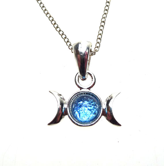 Triple moon necklace silver blue moon goddess pendant necklace blue moon pendant mozeypictures Choice Image