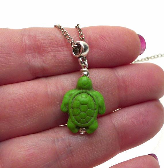 Gemstone Sea Turtle Necklace Pendant Green Everyday