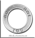 I LOVE YOU Affirmation Ring Necklace Charm, Sterling Silver