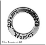Sterling Silver RESPECT Charm, Respect Affirmation Ring Necklace