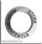 Sterling Silver SMILE Charm, Smile Affirmation Ring Necklace