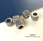 Silver Pewter Rope Coil Patterned Large Hole Tube Beads 10 per bag