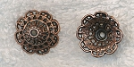 Large Copper Filigree Fluted Bead Cap, 18mm, (1)