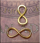 Infinity Symbol, Eternity Jewelry Connector 29x12mm, Bright Gold