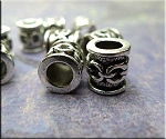 10 Silver Pewter Link Motif Big Hole Tube Beads