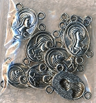 Silver Pewter Madonna Rosary Parts Catholic Rosary Connectors 10 per bag