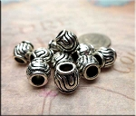 Silver Pewter Swirling Pattern Large Hole Beads 9mm 10 per bag