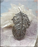 Silver Pewter Large Bailed Fancy Feather Pendants 47mm 10 per bag